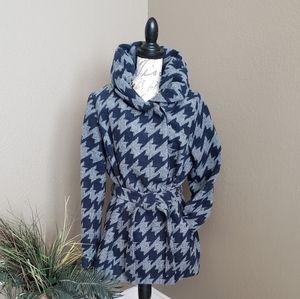 💋 Hooded Tie Waist Houndstooth Navy Gray Pea Coat